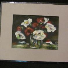 "PVM - Tablou ""Vas cu Flori Albe si Rosii"" u / c semnat indescifrabil 2006"