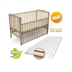 Patut Culisant + Saltea Cocos Lux Natur - Patut lemn pentru bebelusi First Smile