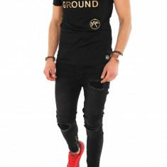 Tricou negru - tricou barbati - tricou slim fit - tricou fashion - 8296X1-1, Marime: S, M, L, XL, XXL, Culoare: Din imagine, Maneca scurta