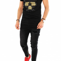Tricou negru fashion - tricou barbati - tricou slim fit - 8260 P14-1, Marime: M, L, Culoare: Din imagine, Maneca scurta