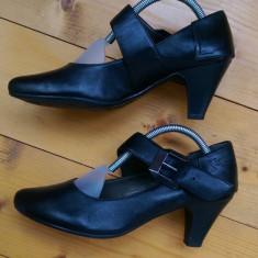 Pantofi Venturini piele, M37 - Pantof dama Made in Italia, Culoare: Negru, Cu toc