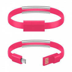 Cablu date MicroUSB Bracelet Roz Blister