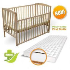 Patut Culisant + Saltea Cocos cu Hrisca Natur - Patut lemn pentru bebelusi First Smile