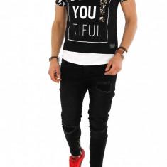 Tricou tip ZARA - tricou barbati - tricou slim fit - tricou fashion - 8266M6, Marime: L, XL, Culoare: Din imagine, Maneca scurta
