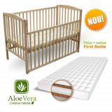 Patut Culisant + Saltea Cocos Aloe Vera Natur - Patut lemn pentru bebelusi First Smile