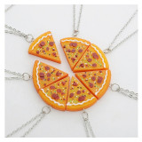 Medalion- Best Friends/BFF/Cei mai buni prieteni/Pizza/Felie Pizza- Portocaliu