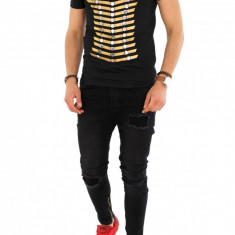 Tricou negru fashion - tricou barbati - tricou slim fit - 8281 P4-4, Marime: S, M, L, XL, XXL, Culoare: Din imagine, Maneca scurta