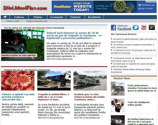 Servicii de Web Design si Servicii de Creatie Web cu stiri.mariflux.com