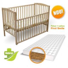 Patut Culisant + Saltea Bio Natur - Patut lemn pentru bebelusi First Smile
