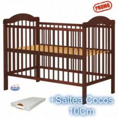Patut din lemn fara sertar Lizett Venghe+Saltea - Patut lemn pentru bebelusi Hubners