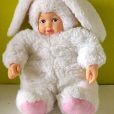 Papusa / papusica bebelus in costum de iepuras alb, marca Anne Geddes, 23cm, Anne Geddes