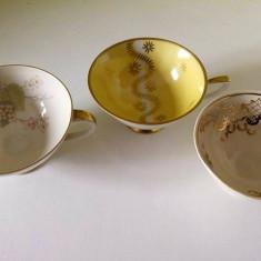 Lot 3 cesti mici de ceai, de colectie, Bavaria / handmade, portelan fin