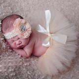 Costum-fusta tutu si bentita- bebelusi- sedinte foto botez, Aqua, Corai, Crem, Mov, Multicolor