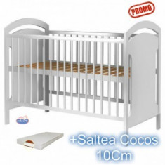 Patut din lemn fara sertar Hubners Anita alb + Saltea - Patut lemn pentru bebelusi