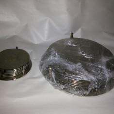 Suport cu set de sase suporti metalici, englezesti, de farfurioare sau pahare