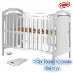 Patut din lemn fara sertar Hansell alb + Saltea 10Cm - Patut lemn pentru bebelusi Hubners