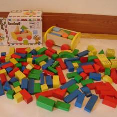 Joc de constuctii din lemn (120 piese +50 buc. din ultima imagine)