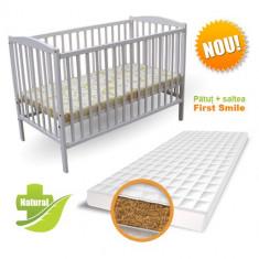 Patut Colour + Saltea Bio Alb - Patut lemn pentru bebelusi First Smile, 120x60cm