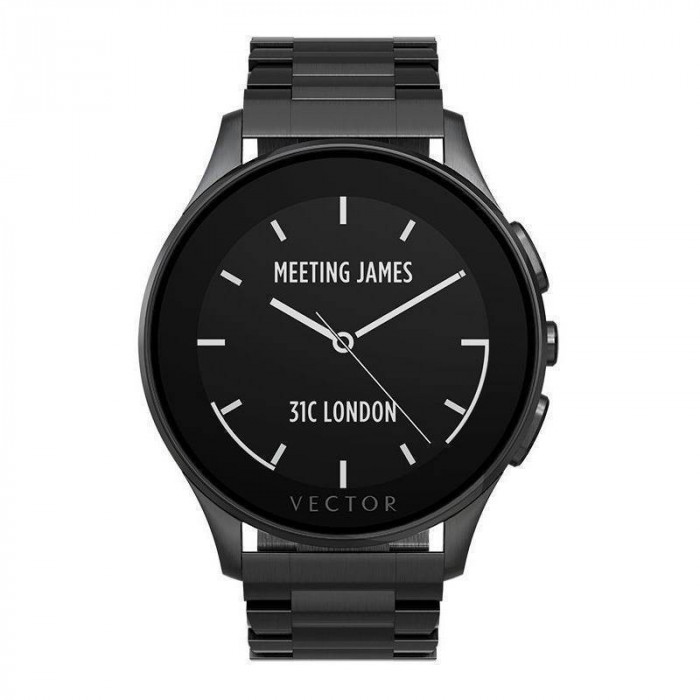 Smartwatch Vector Luna Brushed Steel / Black Steel Strap foto mare