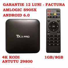TV Box 4K TX3 Garantie 12 luni Quad Core 2.0 1GB DDR3 8GB, Android 6.0