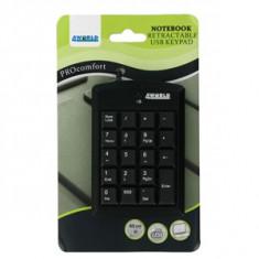 Tastatura 4World numerica 4World USB Super mini cu cablu retractabil, Mini tastatura, Cu fir