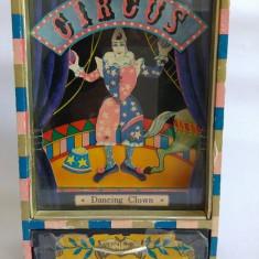Cutie muzicala cu sertar pt. bijuterii, vintage, vechi, cu clovn care danseaza