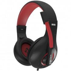 Casti iBOX SHPIX4MV, gaming, cu microfon, negru/ rosu - Casca PC