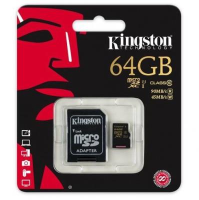 Card memorie Kingston SDCA10/64GB, Micro SDXC 64GB, Class 10 + adaptor SD foto