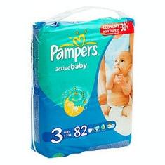 PAMPERS Scutece Active Baby 3 Midi Jumbo Pack 82 buc - Scutece unica folosinta copii