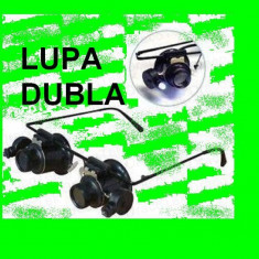 LUPA 20X Ochelari dubla + Lumina LED pentru ceasornicar bijutier