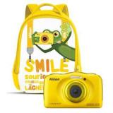 Aparat foto digital Nikon Coolpix W100, 2.7 inch, 13.2 MP, zoom 3x, galben, cu rucsac