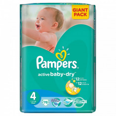 PAMPERS Scutece Pampers Active Baby 4 81527653, Giant Pack, 76 buc, 7-14 kg - Scutece unica folosinta copii
