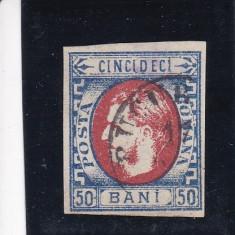 ROMANIA 1869, LP 29, CAROL I CU FAVORITI VAL. 50 BANI NEDANT. STAMPILA PITESTI - Timbre Romania, Stampilat