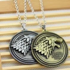 MEDALION Pandantiv cu LANTISOR Game of Thrones STARK HOUSE Patch lup 3D - Pandantiv fashion