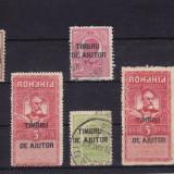 ROMANIA 1915, LOT CAROL I SUPRATIPAR TIMBRU DE AJUTOR - Timbre Romania, Stampilat