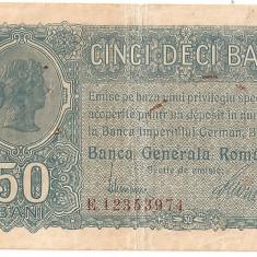 ROMANIA 50 BANI BGR 1917 F - Bancnota romaneasca