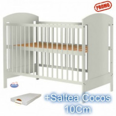 Patut din lemn fara sertar Kamilla Alb+ Saltea - Patut lemn pentru bebelusi Hubners