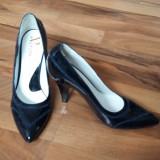 Pantofi de calitate lac piele naturala bleumarin 37 aproape noi