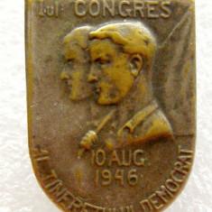 X922 INSIGNA 1946 I-ul CONGRES AL TINERETULUI DEMOCRAT, Romania 1900 - 1950