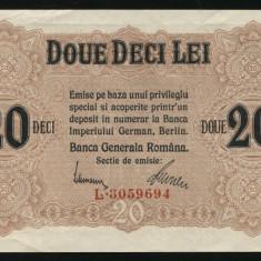 X930 20 LEI 1917 BGR APROAPE NECIRCULATA aUNC - Bancnota romaneasca