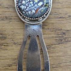 Semn de carte argintiu- hamsa, cabochon sticla tip Murano