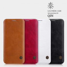 Husa Samsung Galaxy S8 Plus Qin Leather by Nillkin Rosie - Husa Telefon Samsung, Rosu, Piele Ecologica, Cu clapeta, Toc