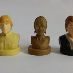 Lot 3 figurine stampila personaje Star Wars, de cauciuc: Luke, Han Solo, C-3PO