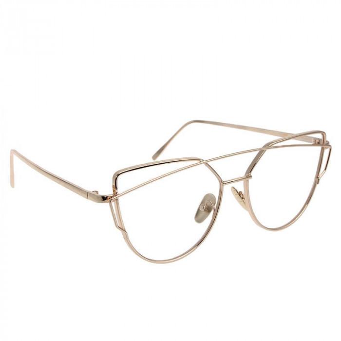 Ochelari designer  argintii lentila clara RETRO DESIGN FASHION