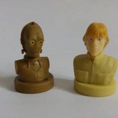 Lot 3 figurine stampila personaje Star Wars, de cauciuc: Luke, C-3PO, Chewbacca