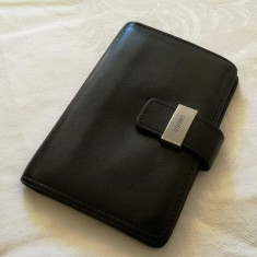 Portcard port card ESPRIT din piele neagra 100% original 12 compartimente - Portofel Barbati