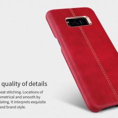 Husa Samsung S8 Plus Englon Leather Cover by Nillkin Rosie - Husa Telefon Nillkin, Rosu, Piele Ecologica, Fara snur, Carcasa