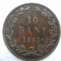 10 bani 1867 Watt,  Carol I,     L 1.30, Bronz