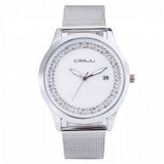 Ceas elegant dama Quartz cu afisaj data 2102-2, argintiu - Ceas dama, Fashion, Otel, Analog