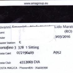 Card plastic intrare cabina vas croaziera Costa Magica, 2016 - lot colectie